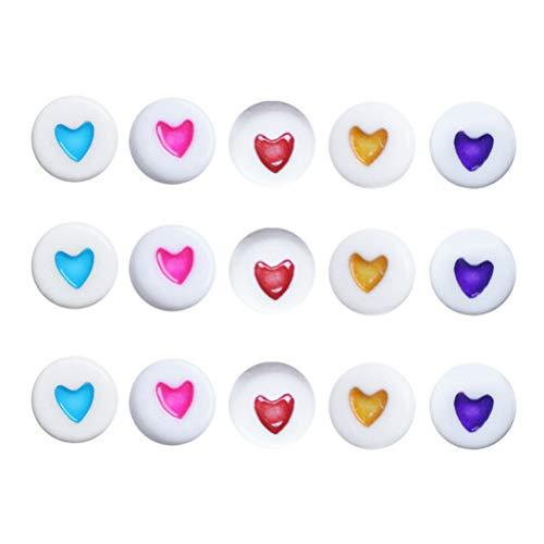 Toyvian Acryl Perlen Herz Oblate Runde Handwerk Perlen Schmuckherstellung Kits für Mädchen DIY Halsketten Armband Kinder Spiele -