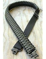 Correa para rifle hecha a mano con cuerda de paracaídas 550 y eslabones giratorios ajustables, Black+Green