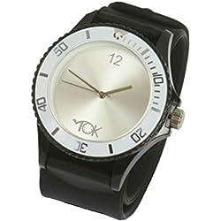 Tick Tok Fusion Black And White Slap On Unisex Wrist Watch