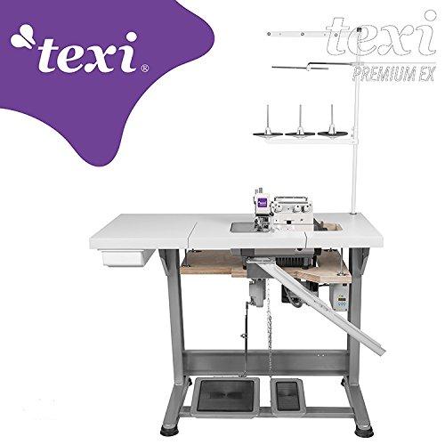 TEXI de la Industria–Máquina de Coser overlock–Roll Dobladillo–1Aguja/3Hilos–Completo (con Mesa y Estructura)