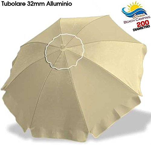 Bakaji ombrellone in alluminio da spiaggia mare o piscina diametro 200 cm mare con snodo antivento e sacca in pvc per il trasporto, palo 32mm, nuovo colore ecrù tinta unita
