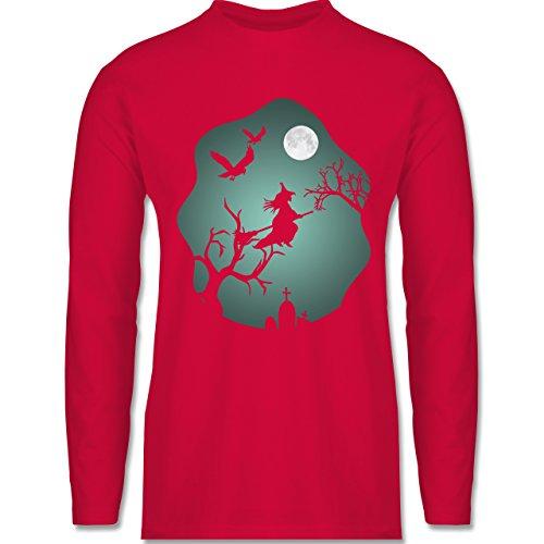 Shirtracer Halloween - Hexe Mond Grusel Grün - Herren Langarmshirt Rot
