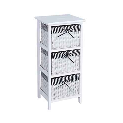 Sep Home Nachttisch mit 3 Schubladen, Paulownia-Holz, Kommode mit Korbgeflecht, für Schlafzimmer, Wohnzimmer, Badezimmer, Möbel -