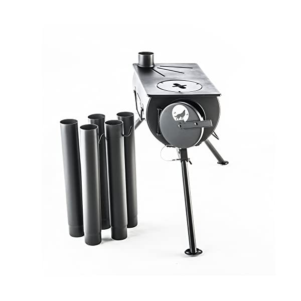 The Frontier Stove Starter Kit Bundle : Log Burning Stove, Spark Arrestor & Bag 5