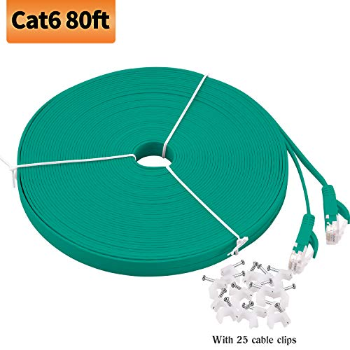 Viodo Ethernet-Kabel, kompatibel mit Cat 6, flach, LAN-Patchkabel, solides Cat6 High-Speed-Computerkabel mit Clips und Rj45 - mehr Füße und Farben zur Auswahl, Green CAT6, 80 Feet/25M - Cat6 Grün Utp Patch
