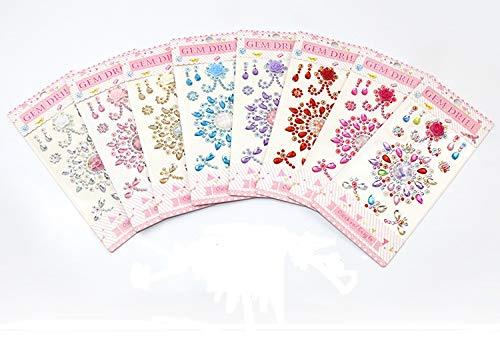 Mydio 8 Bögen selbstklebende Schmucksteine zum Aufkleben von Kristall-Edelsteinen, selbstklebende Sticker, bunte Edelstein-Aufkleber, Basteln und Dekoration, verschiedene Farben.
