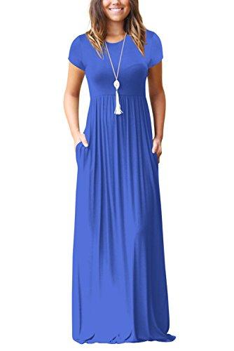 Ärmellos Damen Sommerkleider Sexy Lang Kleid Blau Langes Kleider XL