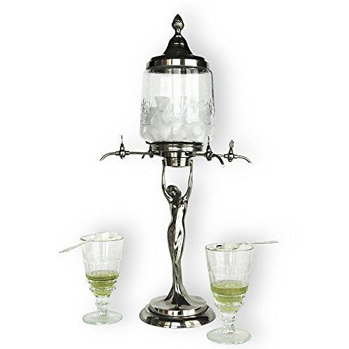 Lady Absinthe Brunnen mit vier Metall Wasserhähne-Reproduktion des berühmtesten Absinthe Brunnen Stil -
