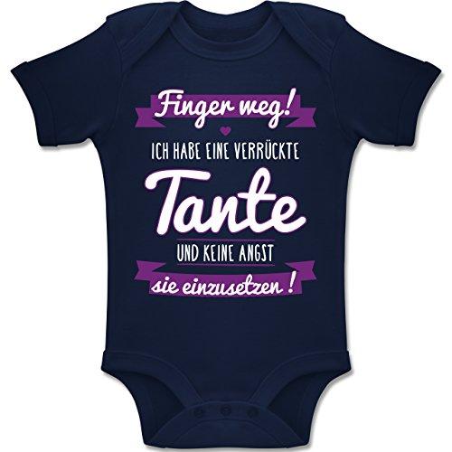 Shirtracer Sprüche Baby - Ich Habe eine verrückte Tante Lila - 12/18 Monate - Navy Blau - BZ10 - Baby Body Kurzarm für Jungen und Mädchen