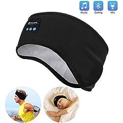 Casque de Sommeil Sans Fil - Navly Bluetooth V5.0 Bandeau de Sport Ecouteurs avec Ultra-fins HD Stéréo Haut-parleurs,Parfait pour Sport,Dormeurs Latéraux,Voyage en Avion,Méditation et Relaxation