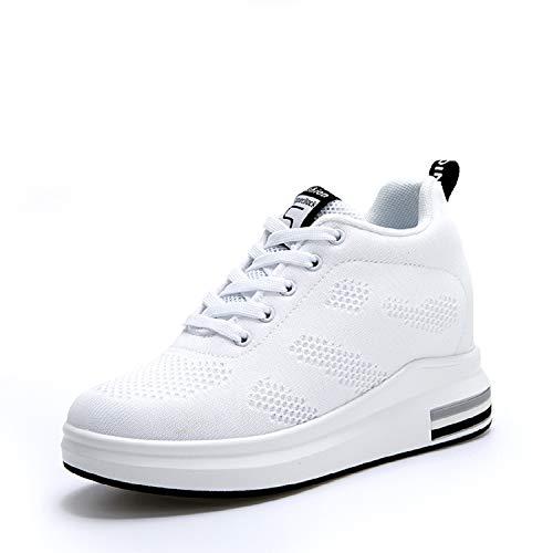 AONEGOLD® Scarpe con Zeppa Interna Donna Scarpe da Ginnastica Basse Sportive Fitness Sneakers Zeppa Interna 8CM(Bianco,37 EU)