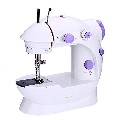 Mini Machine à Coudre Portable, Double Vitesse Réglable AC100-240V Multifonctionnel Ménage Machine à Coudre pour Enfant Les débutants, avec LED Lumière + 4 Bobines + Pédale Pied (Pourpre)