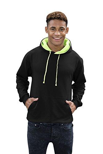 JH013 Superbright Hoodie Kapuzenpullover SweaT-shirt Hooded Sweat-Shirt Jet Black-Electric Green