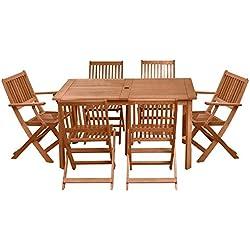 Conjunto de Mesa y sillas para jardín marrón de Madera Garden - LOLAhome