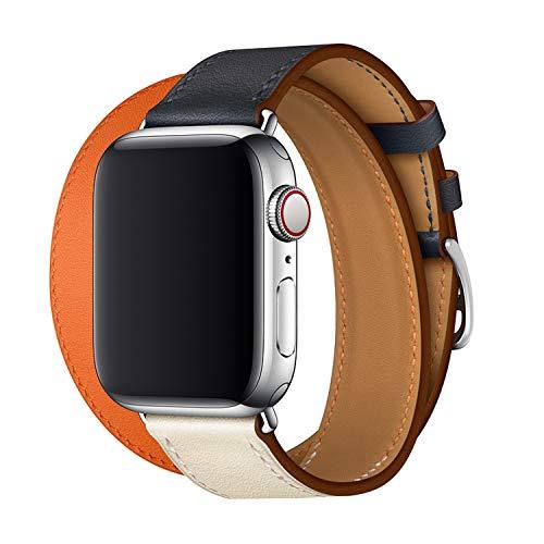 XCool para Correa Apple Watch 42mm 44mm, Cuero Naranja Azul Double Tour para Hombres Mujer para iwatch Serie 4 Serie 3 Serie 2 Serie 1