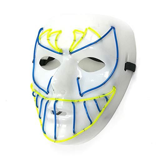 GRYY Leuchtende Maske Kaltlicht Maske EL Kaltlicht Halloween Maskerade Bar Party Cosplay Karneval Geschenk Festival,Fluorescence-Ordinary (Halloween-musik Zu Spielen Auf Einer Party)