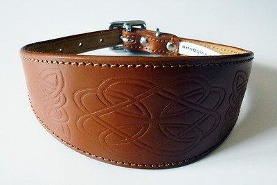 4doggies Halsband aus Leder, aufgeprägtes keltisches Motiv, für Windhunde, 30-36cm, Braun, in 3 verschiedenen Größen erhältlich
