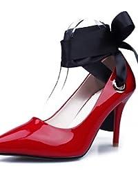 ZQ Zapatos de mujer-Tac¨®n Robusto-Tacones / Punta Redonda-Tacones-Vestido-Semicuero-Negro / Plata / Gris , gray-us6.5-7 / eu37 / uk4.5-5 / cn37 , gray-us6.5-7 / eu37 / uk4.5-5 / cn37