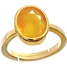 PRAJAPATIS 7.25 Ratti Natural Certified Yellow Sapphire Pukhraj Adjustable Ring for Men & Women