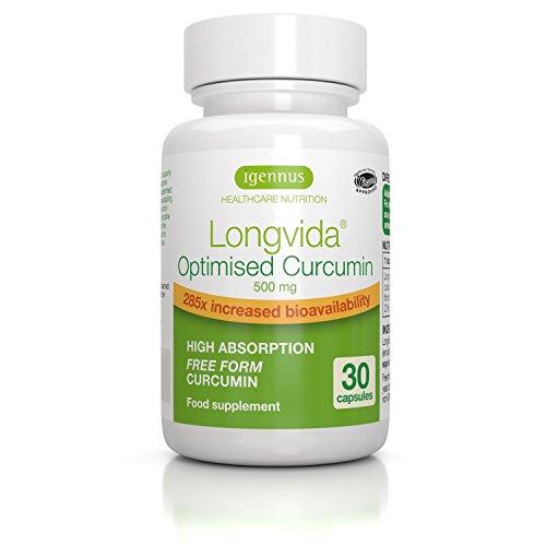 Longvida Curcumin - Curcumine Optimisée, 500 mg - biodisponibilité 285x plus accrue, végétalien, 30 capsules