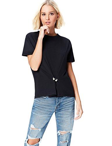 FIND Damen T-Shirt mit Perlendetails Schwarz, 44 (Herstellergröße: XX-Large)
