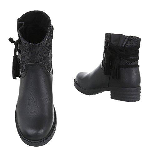 Boots / Bikerboots Damenschuhe Biker Boots Blockabsatz Used Optik Reißverschluss Ital-Design Stiefeletten Schwarz