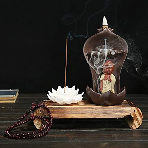 Lotus Buddha Backflow Räucherstäbchenhalter mit 10 Stück Rückfluss-Räucherkegel und Geschenk-Box, Home Keramik Rückfluss Räucherkegel Halter Brenner Stil 1