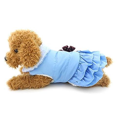 ranphy Kleine Hund Fleece Mantel Kleid aus Wolle Hund Rock Schleife wendbar Chihuahua Kleidung Mädchen PET kaltem Wetter Down Jacket Puppy (Einfache Katzen-kostüm Für Arbeit)