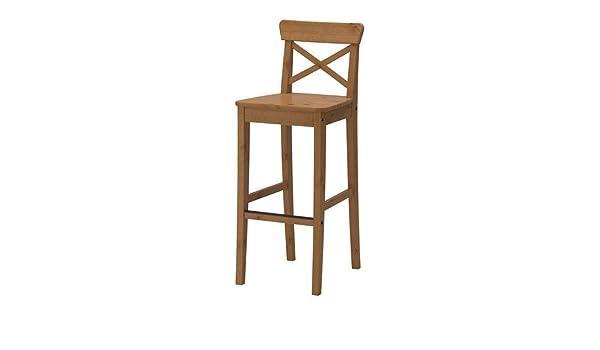 Ikea ingolf sgabello da bar con schienale anticato. 74 cm