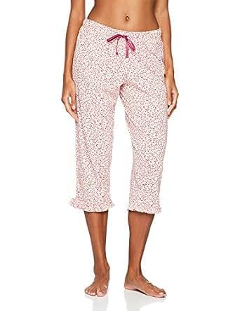 Iris & Lilly Pantaloni Pigiama Animalier con Rouches Donna, Multicolore (Pink/cream), X-Small