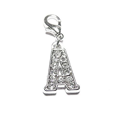 AKKi jewelry Charm Buchstaben Alphabet Anhänger Silber Charms Charmed Club für bettel - Armband Kette Swarovski Kristalle karabina A