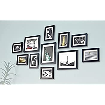 solid wood photo frame set 11 frames glass front with picture mounts