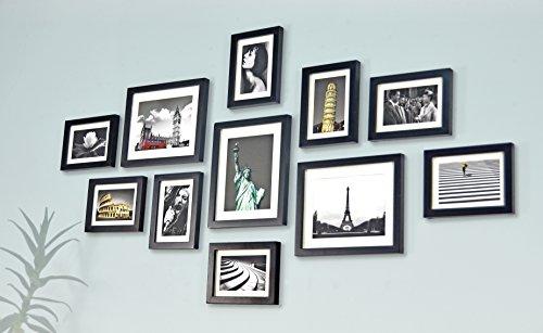 Bilderrahmen Set aus Echtholz mit Glasscheibe - 11er Set Fotorahmen Kollage -135x70cm - Schwarz - enthält Passepartout - Rahmenbreite 2cm!