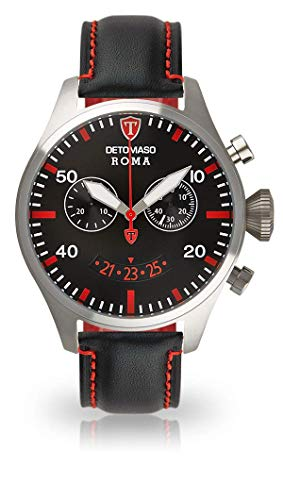 Detomaso, Roma, orologio da polso da uomo, con cassa in acciaio inox argentato e quadrante nero Elegante orologio al quarzo da uomo con cinturino in pelle nera.