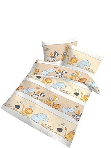 2 tlg Kinder Baby Bettwäsche 100x135 cm Afrika Biber Baumwolle B-Ware