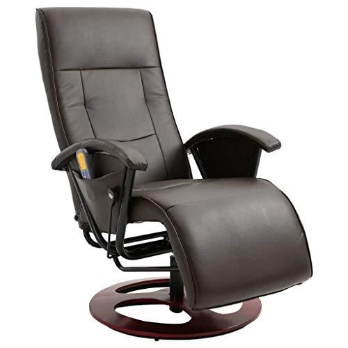 vidaXL Massagesessel Elektrisch mit Massage Taillenheizung Relaxsessel Fernsehsessel TV Sessel Relaxliege Ruhesessel Liegesessel Braun Kunstleder -