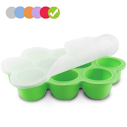 Silikon Baby Food Gefrierschrank Tray Mit Deckel - Wiederverwendbare Mold Storage Container Hausgemachte Baby Food - Gemüse, Obst Purees, Brust Milch und Eiswürfel - BPA Frei & FDA Zugelassen - Grün