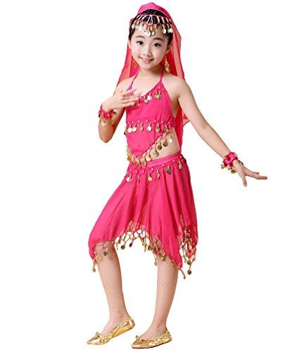 Anguang Kinder Asymmetrisch Rock Mädchen Tanzen Set Bauchtanz Kostüm Rose#3