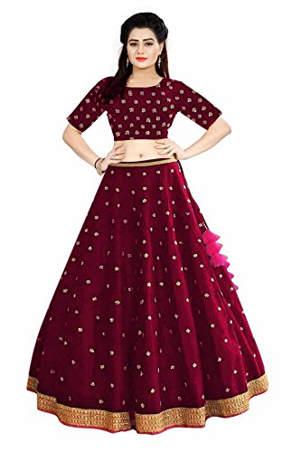 New Lehenga Choli Embroidered Semi-Stitched Maroon Color