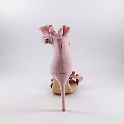 Kolnoo Femmes Unique Toe Buckled ouvert talons hauts talons aiguilles Dressy boucle cheville Sandales Chaussures pink