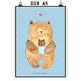 Mr. & Mrs. Panda Poster Din A5 Bär mit Baby - Bär, Eltern, Mutter, Baby, Taufe, Geburt, Nichte, Neffe, Enkel, Enkelin, Täufling, Geburtstag, Glückwunsch Poster, Wandposter, Bild, Wanddeko, Geschenk