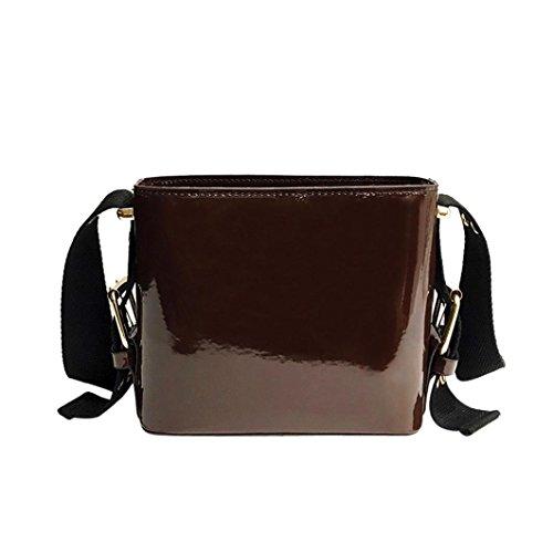 Verrückte Rabatt-Saison UFACE Damenmode Patent Eimer Tasche UmhäNgetasche Verstellbaren TräGern Frauen MäDchen Mode Leder Taschen Crossbody (Braun) (Patent Leder-eimer Tasche)