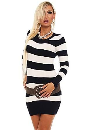 10089 Fashion4Young Damen Strick Minikleid Streifen Long Pullover Pulli Kleid in 5 Farben Gr. 34/36 (34/36, Weiß Schwarz)
