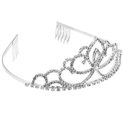 Abeillo Hochzeit Braut Kronen-Stirnband Tiara Charming Strass Kopfst¨¹ck Silber