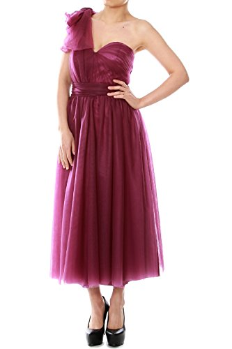 MACloth Tea Length Convertible Bridesmaid Dress Tulle Wedding Party Formal Gown red