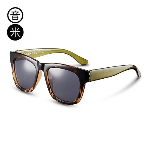KOMNY Sonnenbrille Polarisierte Sonnenbrillen Gläser der Männer Mirror Driver Trendsetter Retro Trend der Persönlichkeit gemajing männliche Amber Rahmen grün Bein Asche