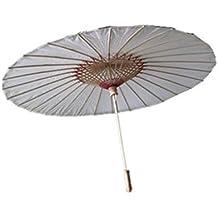 Ppower Paraguas estilo japonés chino bambú Sombrilla Paraguas de danza (Blanco)