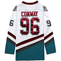 Conway # 96 Hockey sobre Hielo Ropa Deportiva película Hockey sobre Hielo Camiseta de Hockey Pato Fuerte Pato Blanco Blanco Competencia Jersey Traje de Entrenamiento S-3XL