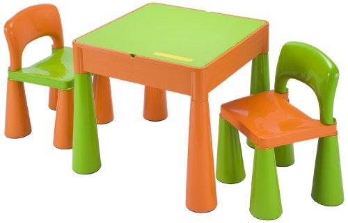 Liberty House LH899G Juego de mesa y 2 sillas infantiles, color naranja y verde