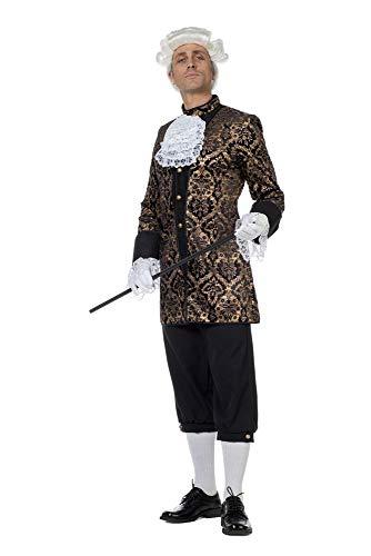 Kostüm Renaissance Früh - shoperama Marquis Louis Herren Barock Rokoko Kostüm Schwarz/Gold Samt Anzug GRAF König Adliger Edelmann französisch de Sade, Größe:52